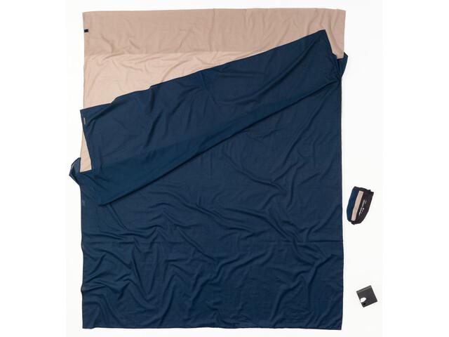 Cocoon TravelSheet Betræk Dobbelt størrelse, egyptisk bomuld, blå/beige